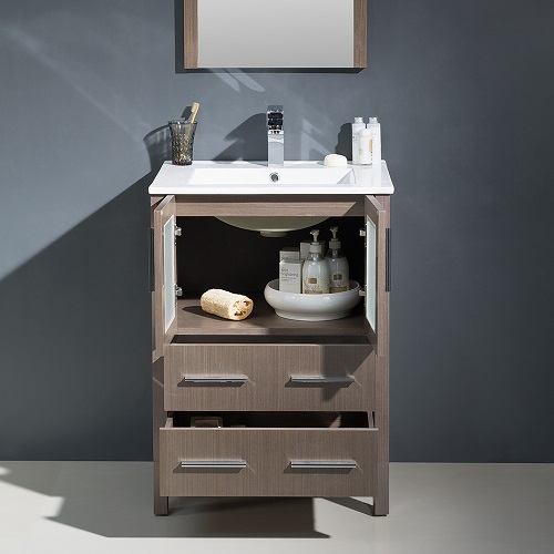 "Torino 24"" Gray Oak Modern Bathroom Vanity FVN6224GO-UNS from Fresca"