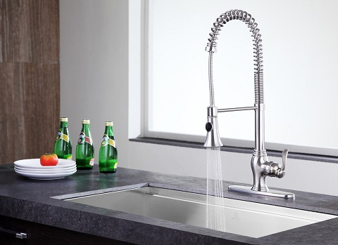 Bastion Series Single Handle Kitchen Faucet in Brushed Nickel KF-AZ209BN-ANZZI from Anzzi