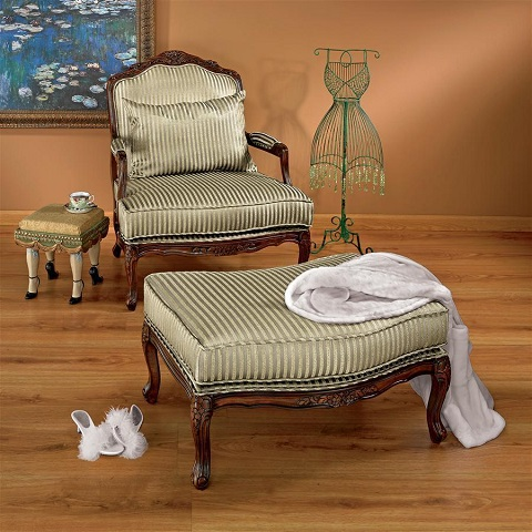 Rue Saint Honore Bergere Chair and Ottoman HA 6064 from Toscano