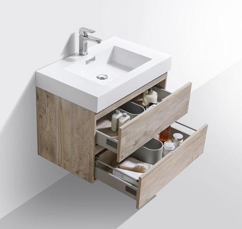 "Bliss 30"" Nature Wood Wall Mount Modern Bathroom Vanity BSL30-NW from Kubebath"