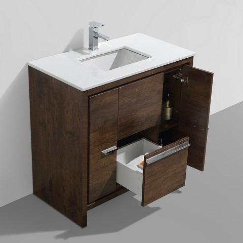 "Dolce 36"" Rosewood Modern Bathroom Vanity AD636RW from Kubebath"