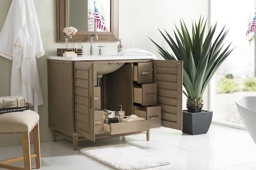 "Portland 36"" Single Bathroom Vanity in Whitewashed Walnut 620-V36-WW-3AF from James Martin Furniture"