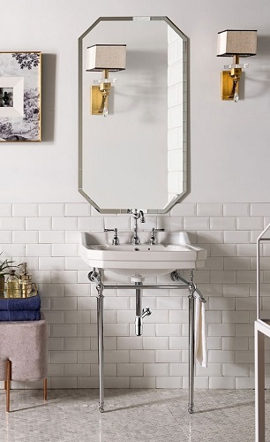 "Wellington 24"" Single COnsole Sink with Chrome Finish 318-V24-CHR-CRM from James Martin Furniture"