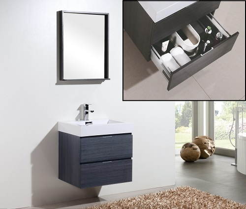 """Bliss 24"""" Gray Oak Wall Mount Modern Bathroom Vanity With Two Drawers BSL24-GO from Kubebath"""