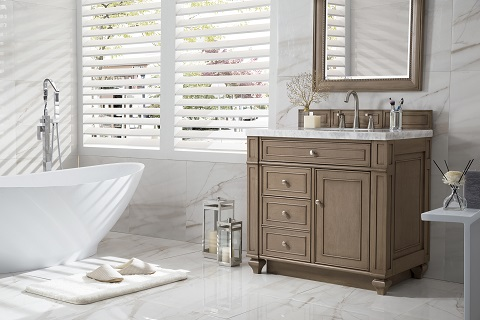 "Bristol 36"" Single Bathroom Vanity in White Washed Walnut 157-V36-WW from James Martin"