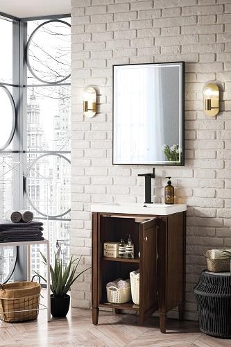 "Brittania 24"" Single Vanity Cabinet in Mid Century Acacia E652-V24-MCA-WG from James Martin Furniture"