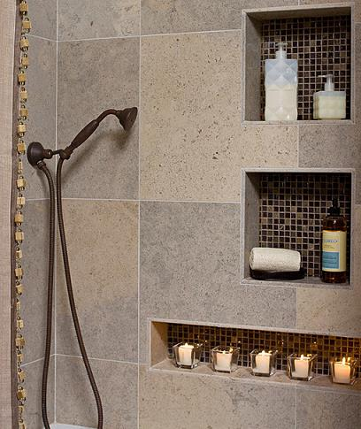 Built In Shower Shelf With Mosaic Tile Accent (by In Detail Interiors)