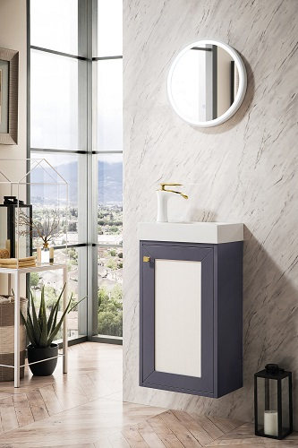 """Chianti 16"""" Single Vanity Cabinet in Mineral Grey With White E303-V16-MG-WG from James Martin Furniture"""