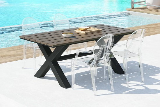 Clear acrylic outdoor furniture is the next best thing to invisible, and is much stronger and more durable than glass
