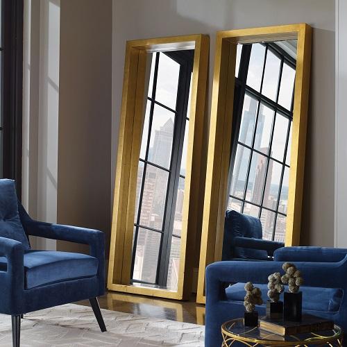 Edmonton Gold Leaner Mirror 14554 Uttermost