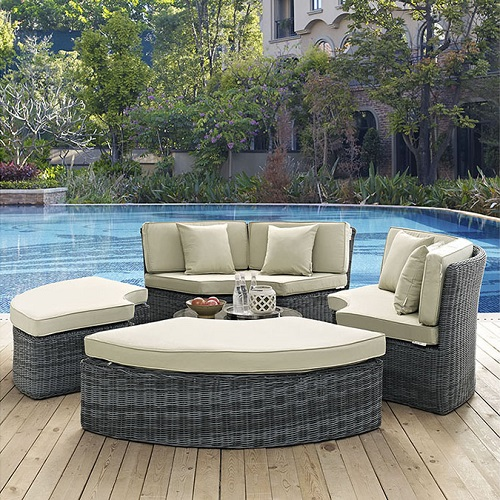 Summon Circular Outdoor Patio Daybed in Sunbrella Antique Beige Canvas EEI-1995-GRY-BEI-SET from Modway Furniture