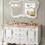 Classic White Vanity With Gold Detailing From Legion Furniture