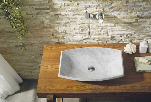 Kirke Bathroom Vessel SInk in Bianco Carrara Marble VST-99IT-BAS from Virtu USA