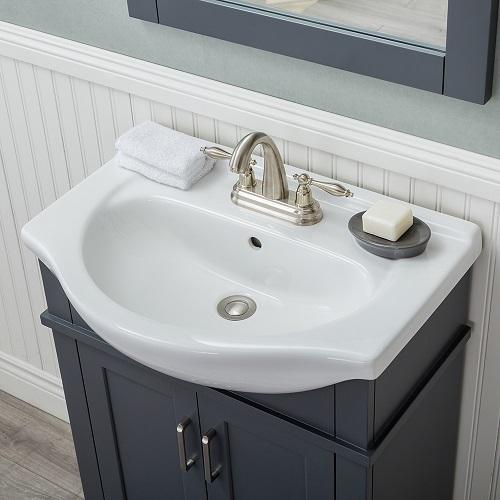 "Lancaster 24"" Single Bathroom Vanity HE-104BL-24-G-CTCF-M2030 from Alya"