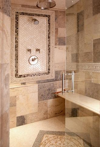 Medallion Flooring Can Give Your Shower The Look And Feel Of A Roman Bath (by Lisa Wolfe Design LTD, photo by Todd Pierson)