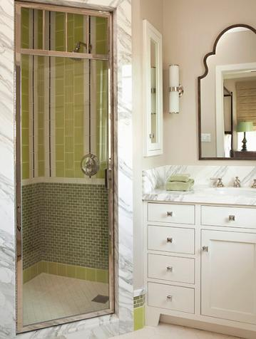 Mixing And Matching Mosaic Tile Is A Great Way To Get A Custom Shower Design On A Budget (by Tim Barber LTD)