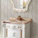 Ornate White Vanity With Gold Detailing From Legion Furniture