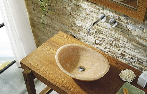 Phoenix Bathroom Vessel Sink in Honey Onyx Marble VST-2061-BAS from Virtu USA