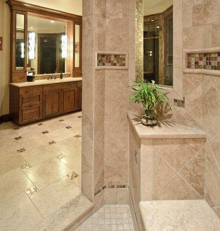 Small Mosaic Tile Accents Can Really Dress Up A Tile Floor (by Aneka Interiors Inc)