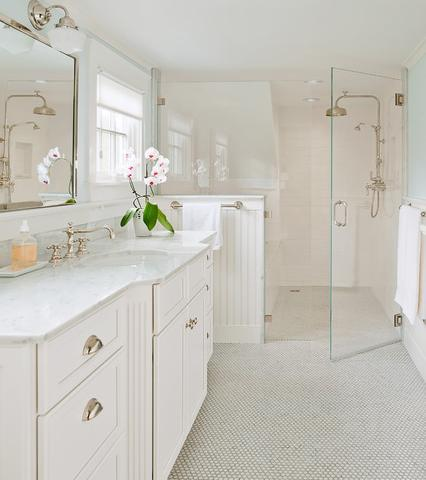 The Traditional Subway And Hex Tile In This Cape Cod Bathroom Keep The Frameless Glass Shower Enclosure From Looking Too Modern (by L. Thibeault and Associates, photo by Julie Megnia)