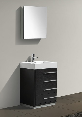 "Kube 24"" Black Modern Bathroom Vanity With Four Drawers LN600BK from Kubebath"