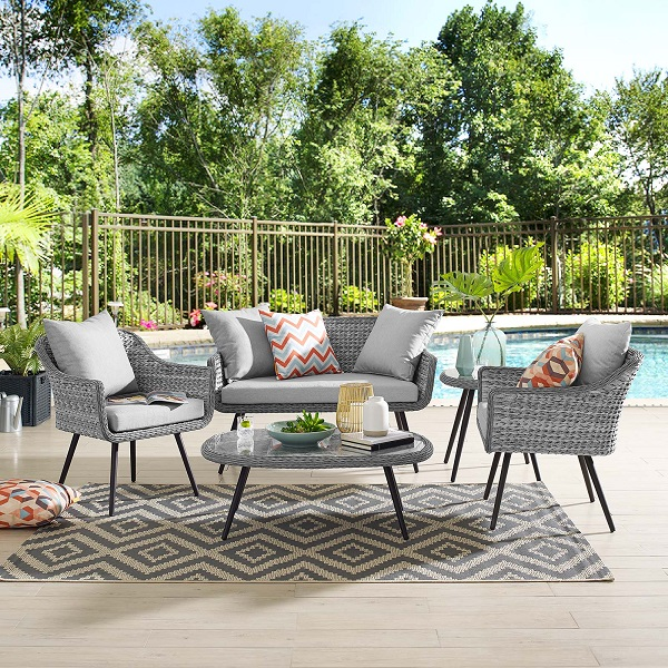 An image of a five-piece synthetic wicker outdoor set, which links to the relevant product page