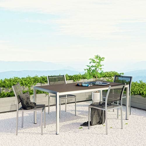 An image of a five-piece aluminum outdoor dining set, linking to a product page selling the set
