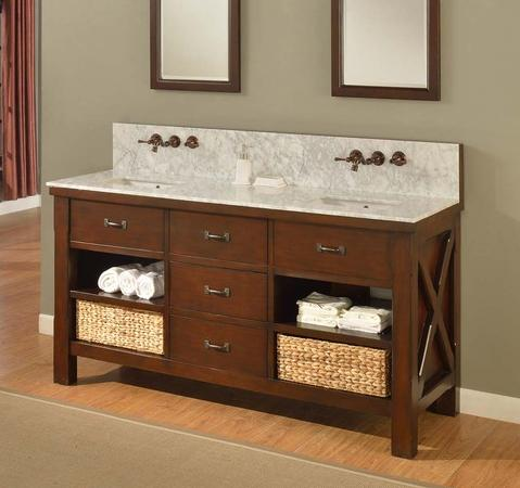 Xtraordinary Spa Double Vanity With Carrera Marble Top From Direct