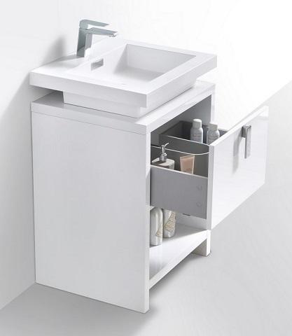 "Levi 24"" White Modern Bathroom Vanity L600GW from KubeBath"