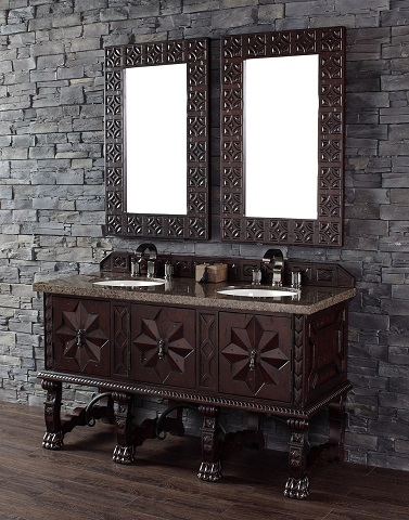 """Balmoral 60"""" Double Bathroom Vanity in Antique Walnut 150-V60D-ANW from James Martin Furniture"""