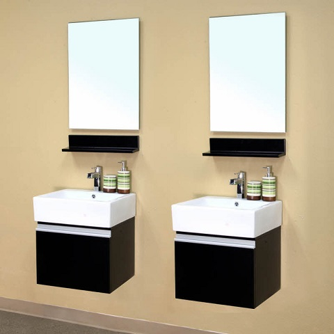 Double Wall Mount Style Solid Wood Bathroom Vanities 203145-D from Bellaterra