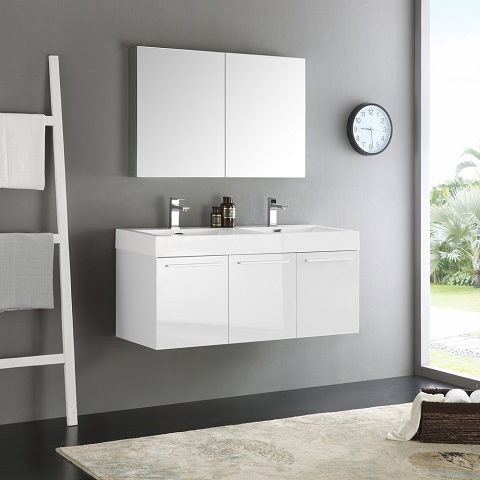 "Vista 48"" White Wall Hung Double Sink Modern Bathroom Vanity FVN8092WH-D from Fresca"