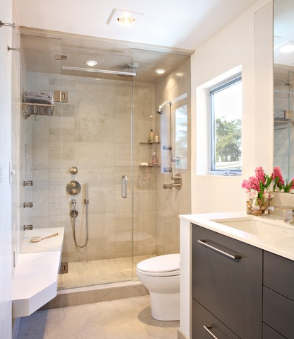 While Steam Baths Do Need To Be Enclosed, They Don't Need To Be Large, Making Them An Ideal Luxury Item For A Smaller Bathroom (by Synthesis Inc.)