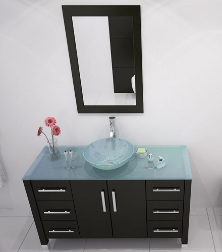 Grand Crater Glass Bathroom Vanity in Espresso JWH-3116 from JWH Living