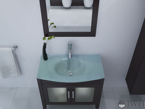 Ludwig Glass Bathroom Vanity in Espresso JWH-3042 from JWH Living