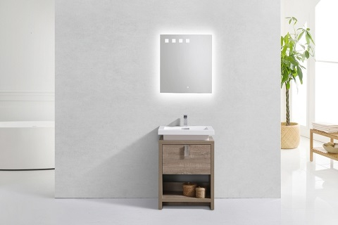 "Levi 24"" Havana Oak Modern Bathroom Vanity L600CO from Kubebath"