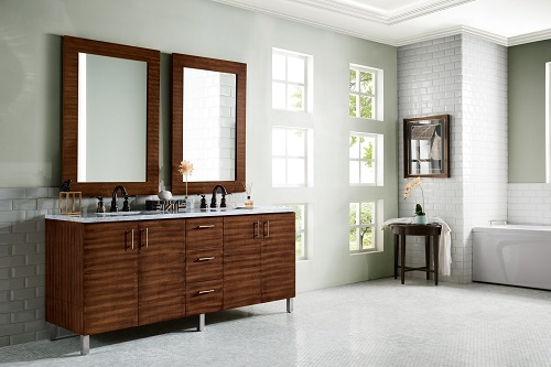 """Metropolitan 72"""" Double Bathroom Vanity in American Walnut 850-V72-AWT with legs from James Martin Furniture"""