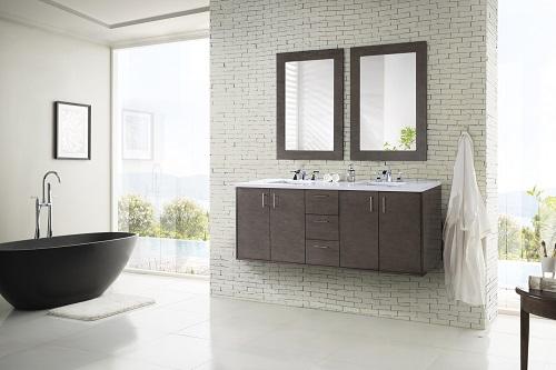 """Metropolitan 72"""" Double Bathroom Vanity in Silver Oak 850-V72-SOK from James Martin Furniture"""