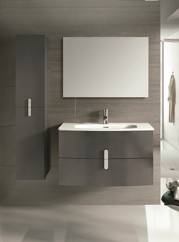 "Cali 39"" Wall Mount Gray Modern Bathroom Vanity EVVN32-39GR-Round from Eviva"