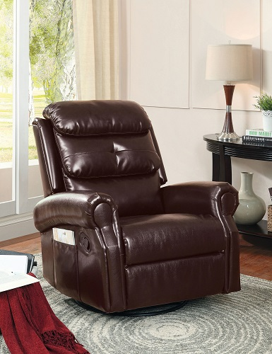 Contemporary Plush Cushion Nailhead bonded Leather Recliner Chair IDF-6960-C from Furniture of America