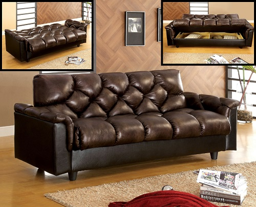Daly Contemporary Style Leatherette Futon Sofa IDF-2120 from Furniture of America