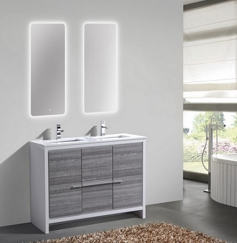 "Dolce 48"" Double Sink Ash Gray Modern Vanity AD64DHG from KubeBath"