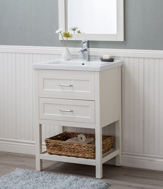 "Vineland 24"" Single Bathroom Vnaity in White HE-103DR-24-W-CT-M2030 from Alya"