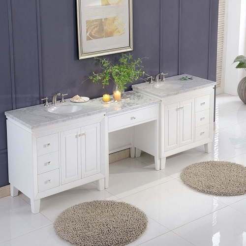 "103"" Carrara White Marble Top Double Bathroom Vanity V0320WW103D from Silkroad Exclusive"