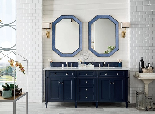"""Brittany 72"""" Double Bathroom Vanity in Victory Blue 650-V72-VBL from James Martin Furniture wide"""