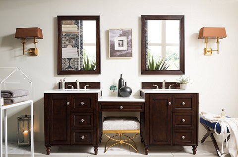 "Copper Cove Encore 86"" Double Vanity Set With Makeup Table 301-V86-BNM-DU-3AF from James Martin Furniture"