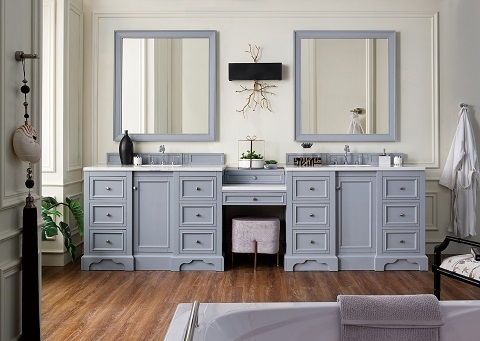 "De Soto 118"" Double Bathroom Vanity Set With Makeup Table 825-V118-SL-DU-AF from James Martin Furniture"
