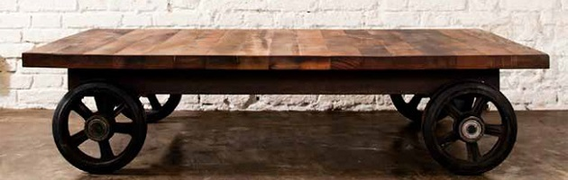 Vintage factory furniture Good Things Homethangscom Vintage Factory Carts Double As Trendy Coffee Tables