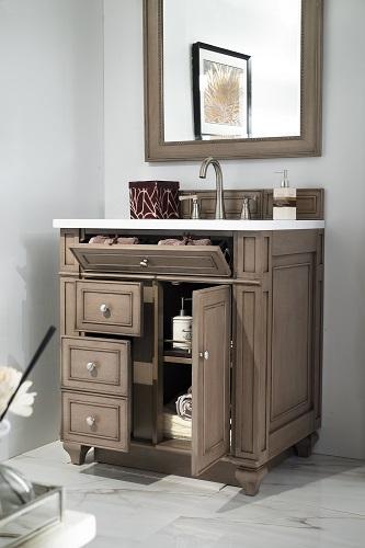 "Bristol 30"" Single Bathroom Vanity in White Washed Walnut 157-V30-WW-SW from James Martin Furniture"