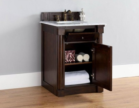 """New Haven 26"""" Single Bathroom Vanity in Burnished Mahogany 770-V26-BNM from James Martin Furniture"""